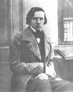 Chopin photograph (possibly taken by L.A. Bisson in Paris in 1849) - one of only two photographic images of Chopin in existence (the original photographs were destroyed in WWII).