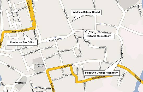 Map of central Oxford shoiwng concert hall locations (courtesy Google)