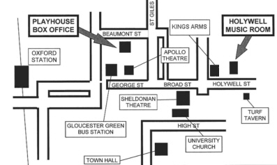 Map of central Oxford showing location of the historic Holywell  Music Room